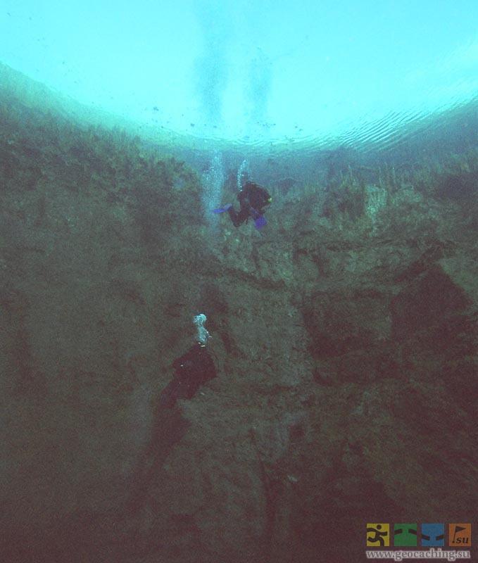 аквалангисты в Голубом озере