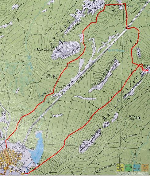 Таганай - Карта - Маршруты